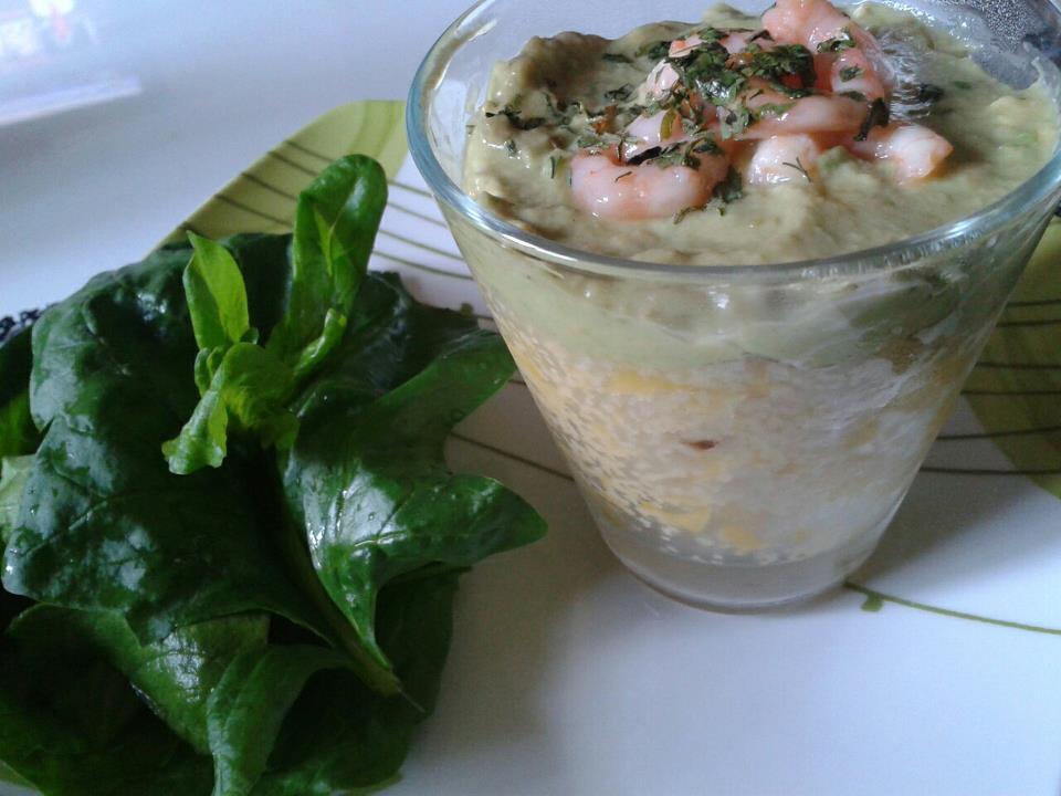 Verrine de couscous glacé à la mangue et sa crème d'avocat